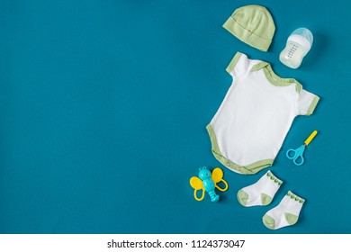 Baby Clothing. care items for newborns. Concept of newborns, motherhood, care, lifestyle.