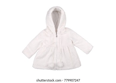 Baby coat with faux fur isolated on white