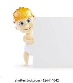 baby construction helmet form on a white background