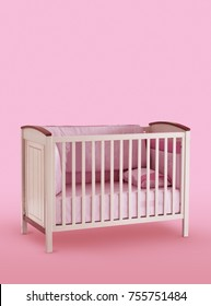 Baby cot, bed isolated under the pink background