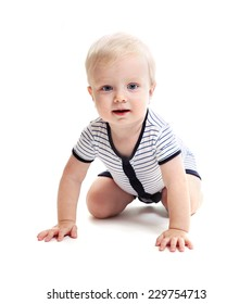 Baby crawls. Isolated on white background