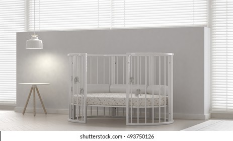 Baby crib, 3D illustration