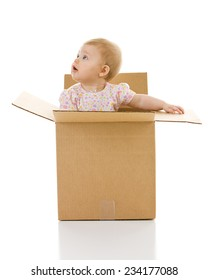 Baby: Curious Kid Inside Cardboard Box