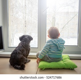 Baby with Dog Looking through a Window in Winter. Boy and Pet Friends Concept. Toned Photo with Copy Space.