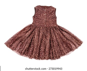 baby dress with leopard print on an isolated white background