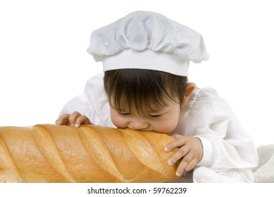 baby eating bread