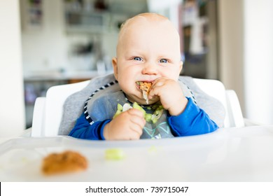 Baby eating bread and cucumber with BLW method, baby led weaning. Happy vegetarian kid eating lunch. Toddler eat himself, self-feeding.