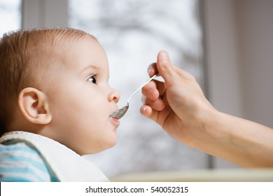 baby eating from a spoon eats milk porridge