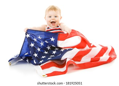 Baby: Excited Patriotic Baby With American Flag