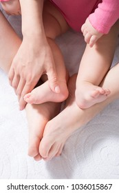 Baby Exercise ,foot massage , for Relief from Baby Constipation, Selective focus