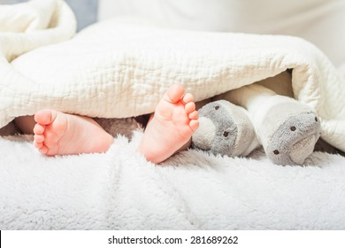 baby feet under a blanket . foot plush toys. tiny feet