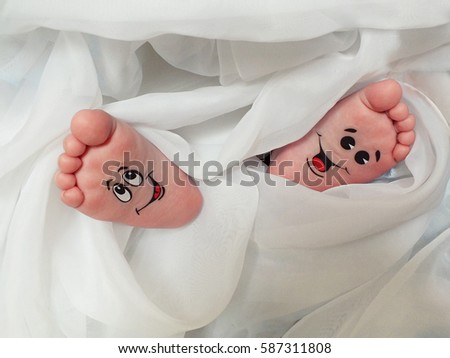 Baby Feet Wrapped White Cloth Stock Photo Edit Now 587311808