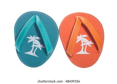 Baby flip flop sandals isolated against white background