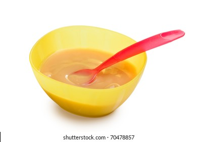 the baby food in plastic bowl