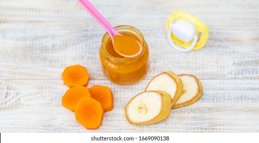 baby food in small jars. Selective focus. nature.