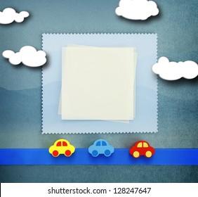 Baby frame card on blue background
