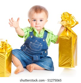 Baby with gifts. Isolated on white background