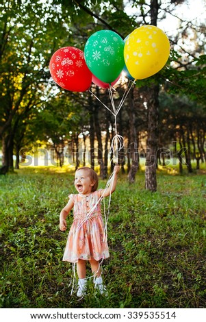 Baby Girl 2 3 Year Old Holding Balloons Outdoors Birthday Party Childhood