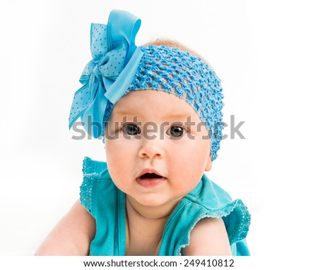 586e3a695 Baby Girl Blue Decoration On Head Stock Photo (Edit Now) 249410812 ...