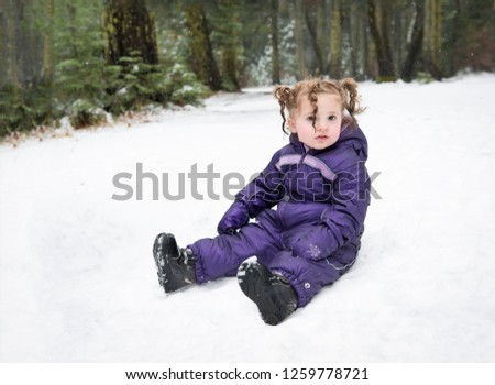 291aaa330 Baby Girl Boots Purple Snowsuit Sitting Stock Photo (Edit Now ...