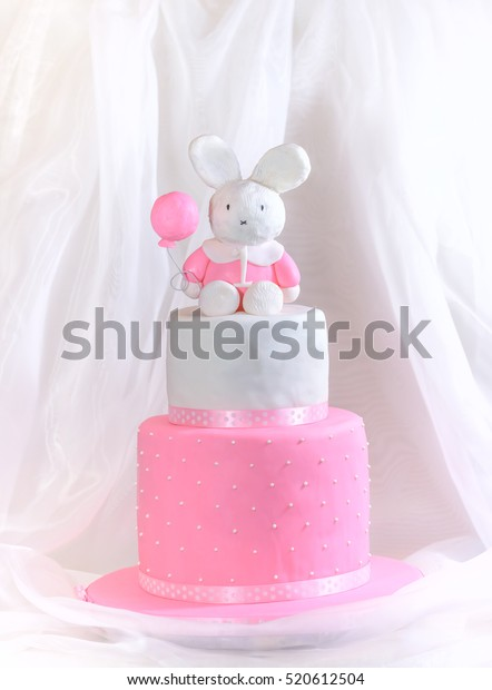 Cool Baby Girl Cake First Birthday Rabbit Stock Photo Edit Now 520612504 Funny Birthday Cards Online Elaedamsfinfo
