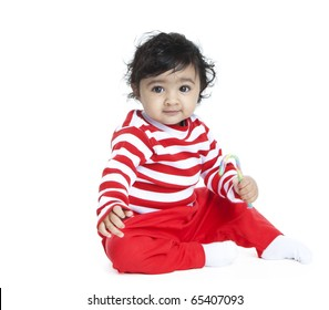 Baby Girl with Candy Cane, Isolated, White