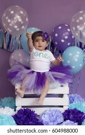 Baby girl celebrating her fist birthay
