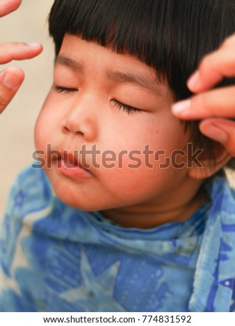 Baby Girl Cute Asian Getting Haircut Stock Photo Edit Now
