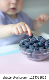 Baby girl eating bluberries with baby led weaning (BLW) method, close up photo.