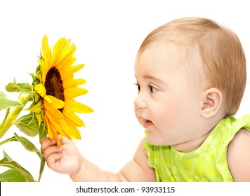 Baby girl exploring flower, elementary study of nature, cute kid playing with plant, small curious child holding sunflower in hand, personal growth concept