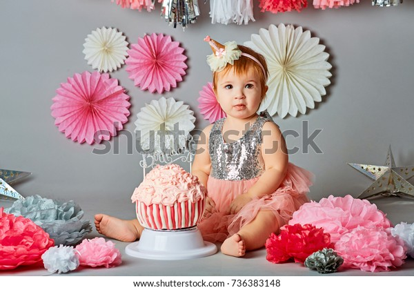 Remarkable Baby Girl First Birthday Smash Cake Stock Photo Edit Now 736383148 Personalised Birthday Cards Veneteletsinfo