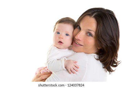Baby girl hug in mother arms on white background
