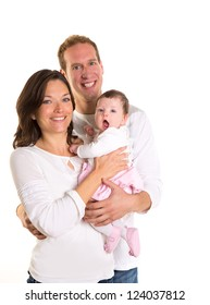 Baby girl mother and father family happy on white background