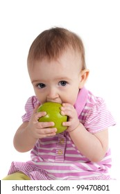 Baby girl in pink eating apple