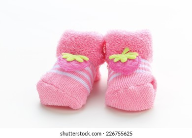 Baby girl pink shoes  on white background