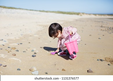 baby girl playing at summer beach