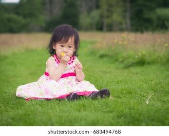 baby girl playing in summer garden
