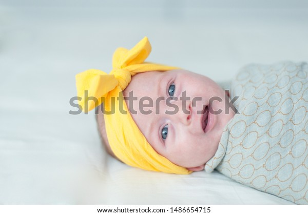 Baby girl portrait looking at camera