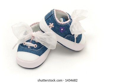 Baby Girl Shoes with White Bow and Pink Flowers