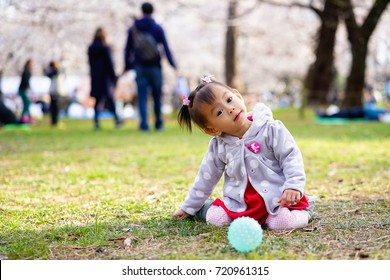 Baby girl sit and play among the cherry blossoms tree in the park