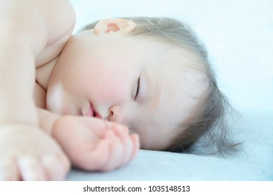Baby girl sleeping quite, infant cute sleep day time, healthy lifestyle for children being