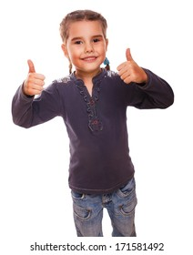 baby girl teenager raised her thumbs up isolated smiling symbol indicates yes emotions