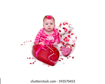 Adorable Baby Girl Valentines Day Props Stock Photo Edit Now