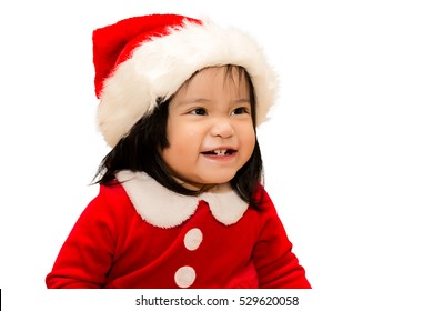 Baby girl wearing santa, happiness smiling isolated on white background.