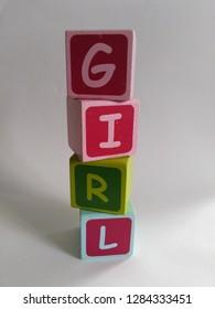 Baby girl wooden blocks, gender reveal, baby shower or baby arrival