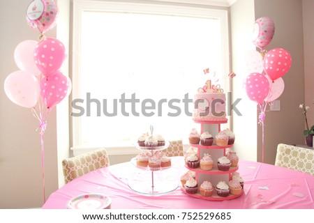 baby girls first birthday celebration cupcakes stock photo edit now