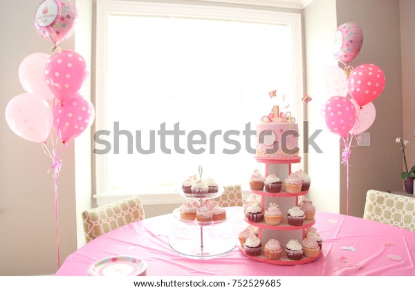 Surprising Baby Girls First Birthday Celebration Cupcakes Stock Photo Edit Personalised Birthday Cards Veneteletsinfo