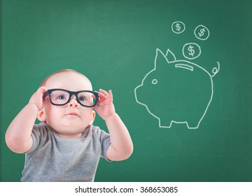 baby with glasses thinks about saving for the future