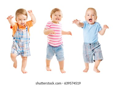 Baby Go, Funny Kids Expression, Playing Babies one year old Children Isolated over White Background
