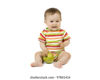 Baby with the green apple on the white background